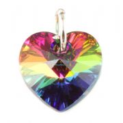 Swarovski Vitrail Crystal Heart And Silver Charm